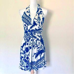 Alice & Olivia Tie Neck Silk Halter Dress